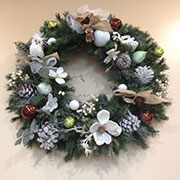 Seasonal Wreath, Holiday Office Decor